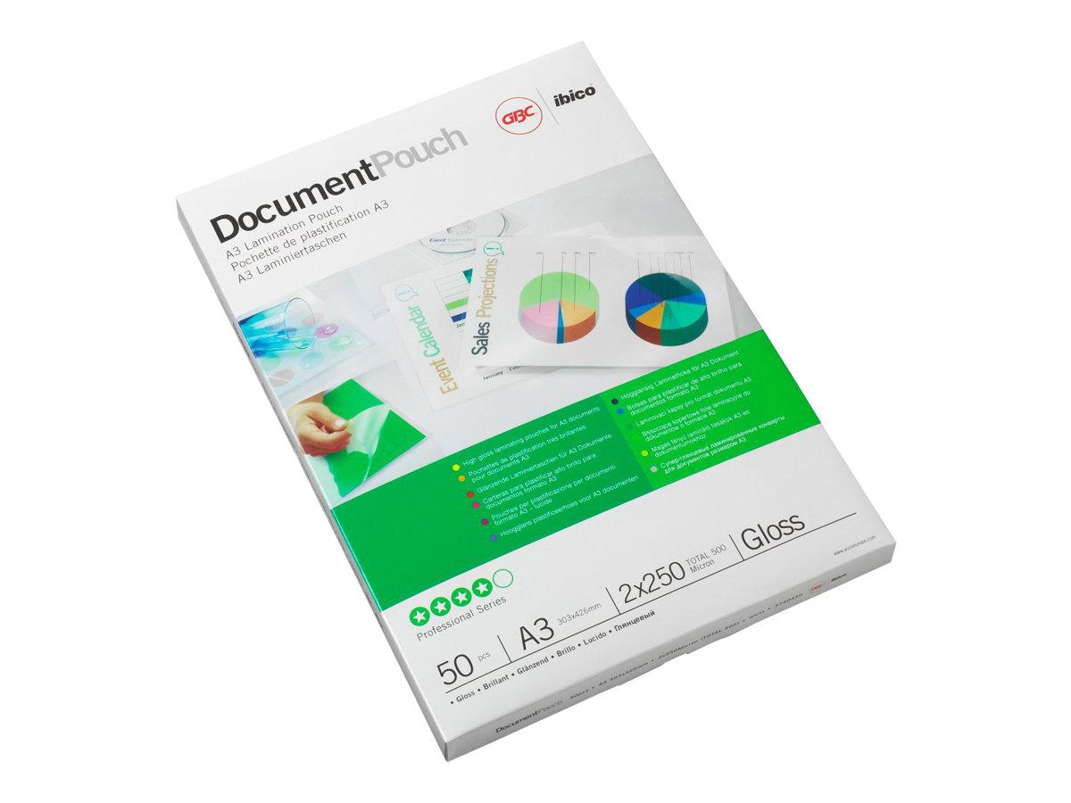 GBC Document Laminating Pouch - pack de 25 - brillant - pochettes plastifiées