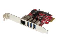 StarTech.com Carte PCI Express à 3 ports USB 3.0 et 1 port Gigabit Ethernet avec UASP - adaptateur USB / réseau