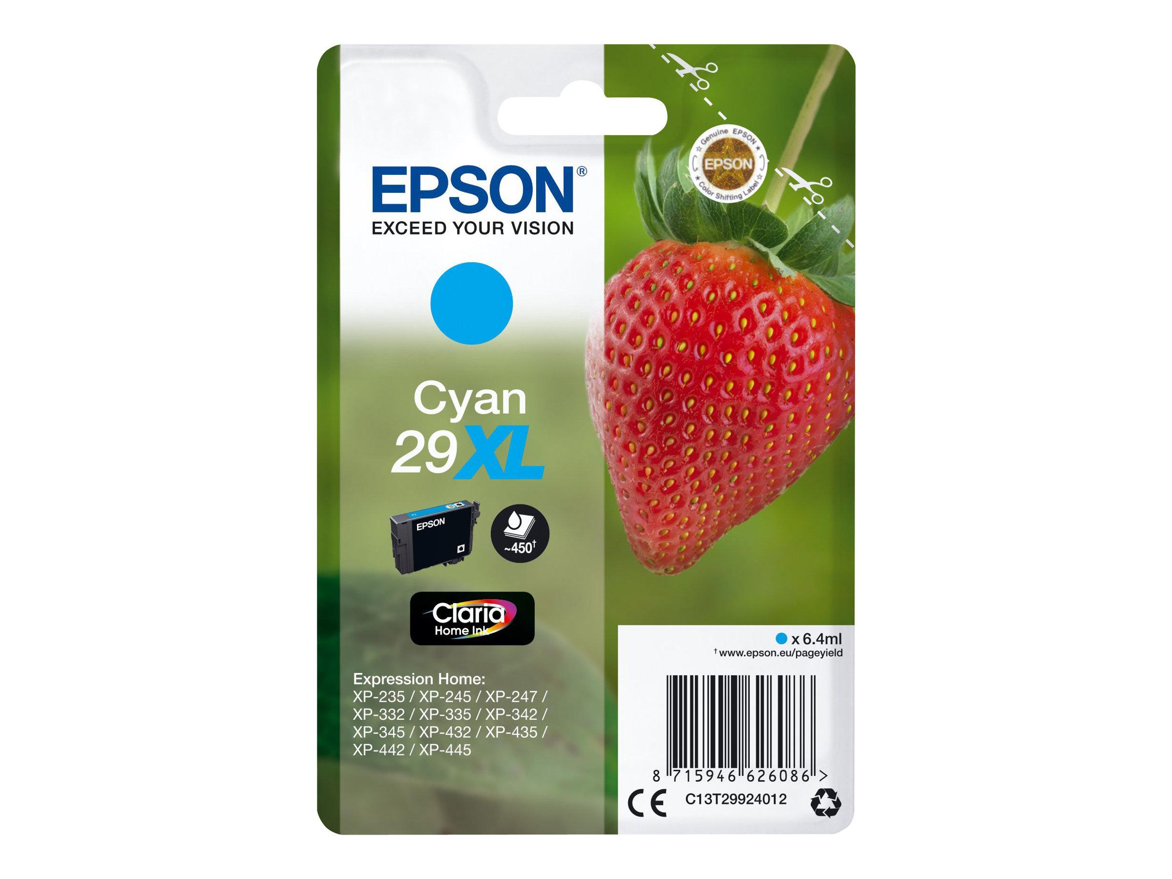 Epson T29XL - fraise - taille XL - cyan - originale - cartouche d'encre