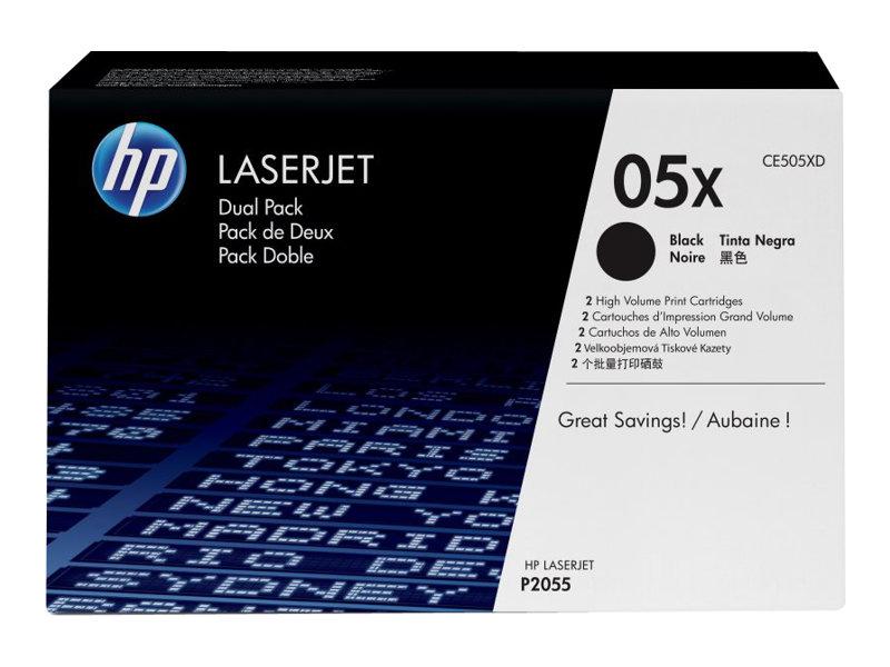 HP 05X - pack de 2 - à rendement élevé - noir - original - LaserJet - cartouche de toner ( CE505XD )