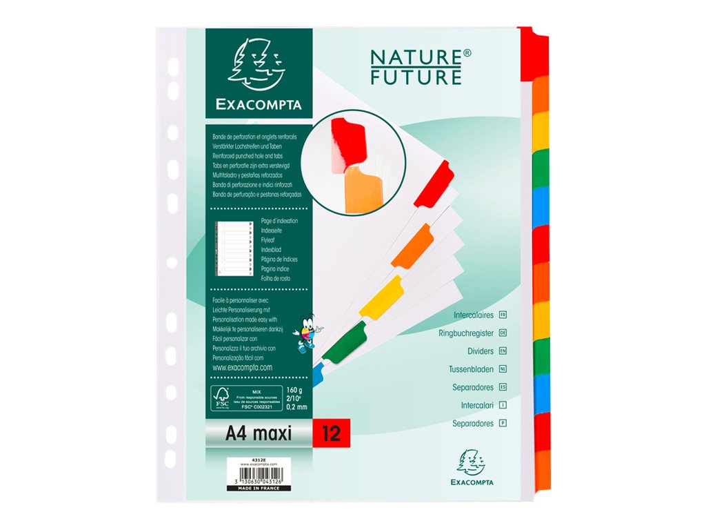 Exacompta Nature Future - Intercalaire - 12 positions - A4 Maxi - blanc