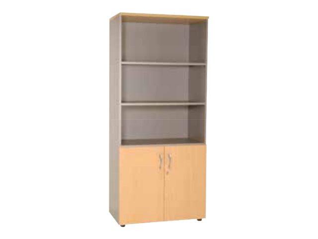 Burocean PRO - Bibliothèque Idra - 4 étagères - 2 portes - différentes couleurs disponibles