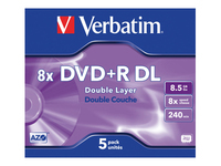 Verbatim 5 x DVD+R DL 8.5 GB (240min) 8x sølvmatteret cd-boks