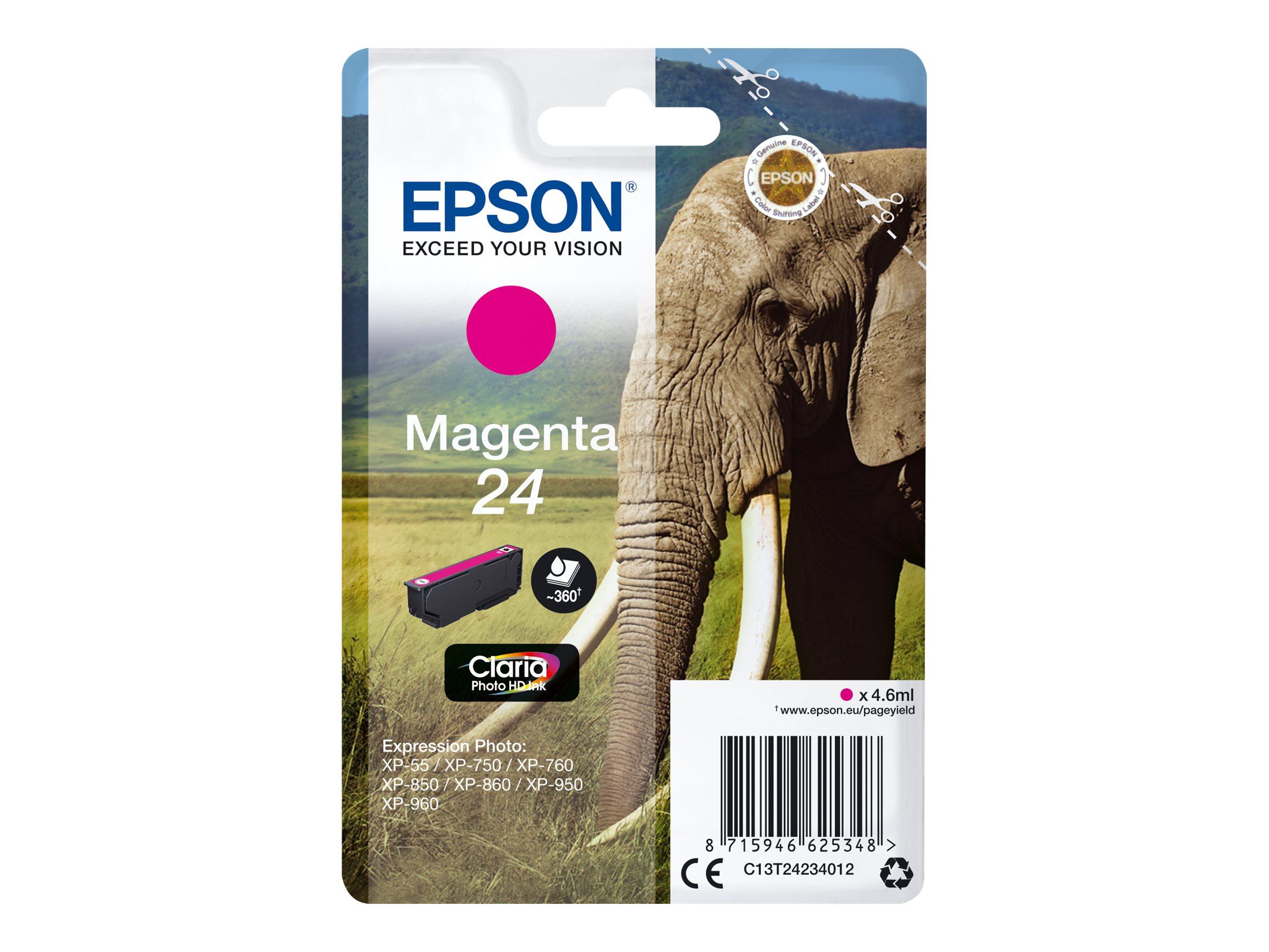 Epson T24 - éléphant - magenta - originale - cartouche d'encre
