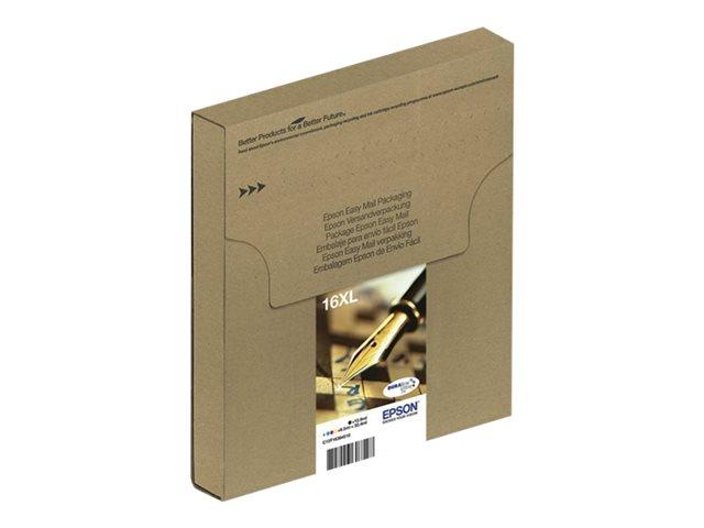 epson 16xl multipack easy mail packaging pack de 4 32 4 ml xl noir jaune cyan magenta. Black Bedroom Furniture Sets. Home Design Ideas