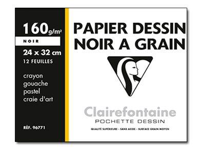 Clairefontaine ETIVAL COLOR - Papier à dessin - 24 x 32 cm - 12 feuilles - noir
