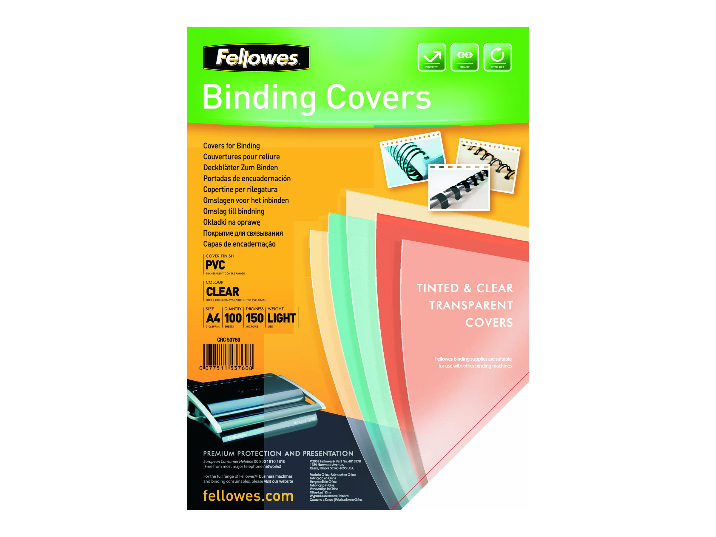 Fellowes Superclear PVC - 100 unités - couverture à reliure PVC