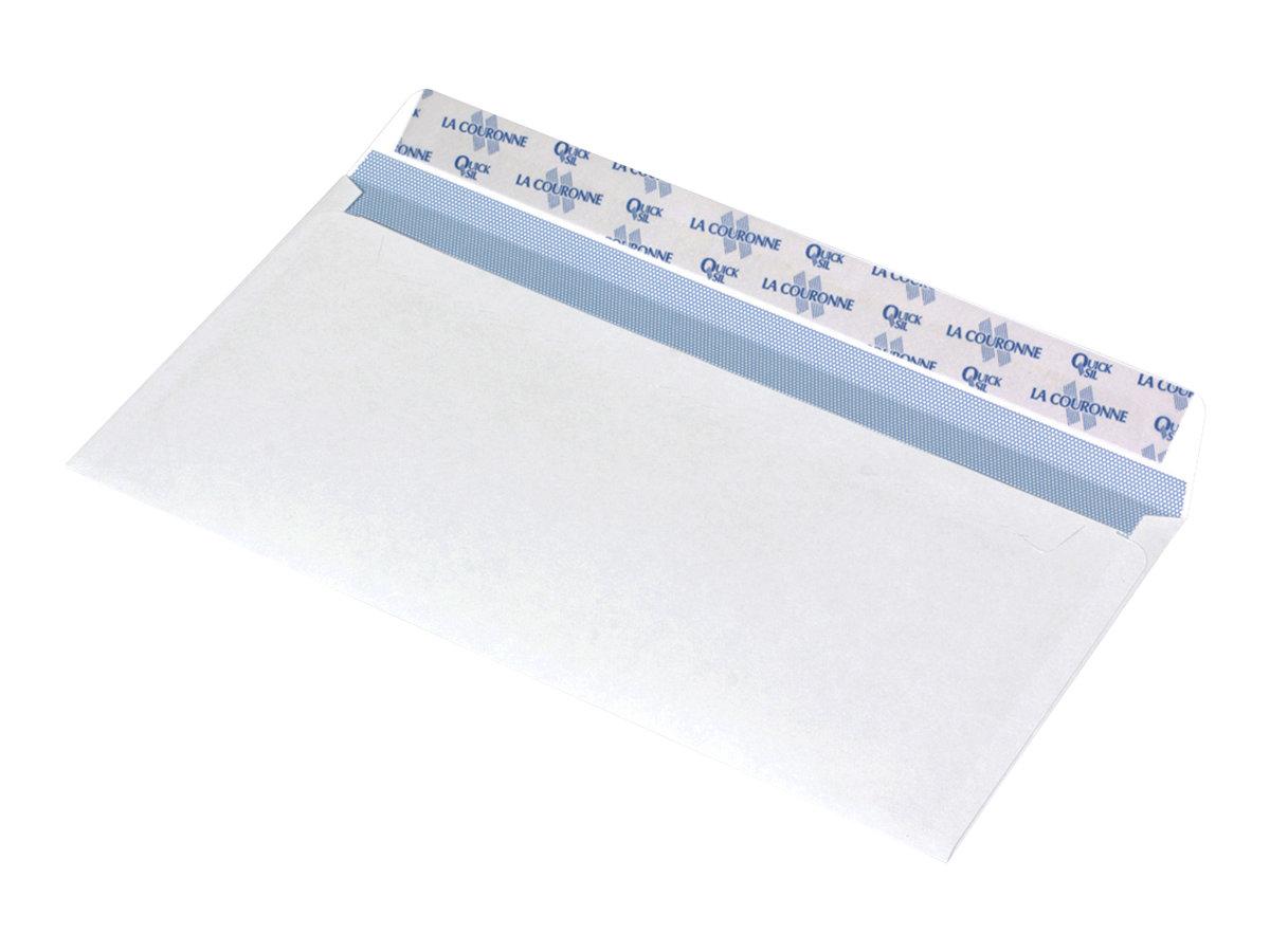 La Couronne - 200 Enveloppes blanches - 110 x 220 mm - avec bande (auto-adhésif)