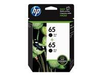HP 65 - 2-pack - 4 ml - black - original - ink cartridge - for Deskjet 26XX, 37XX; Envy 50XX