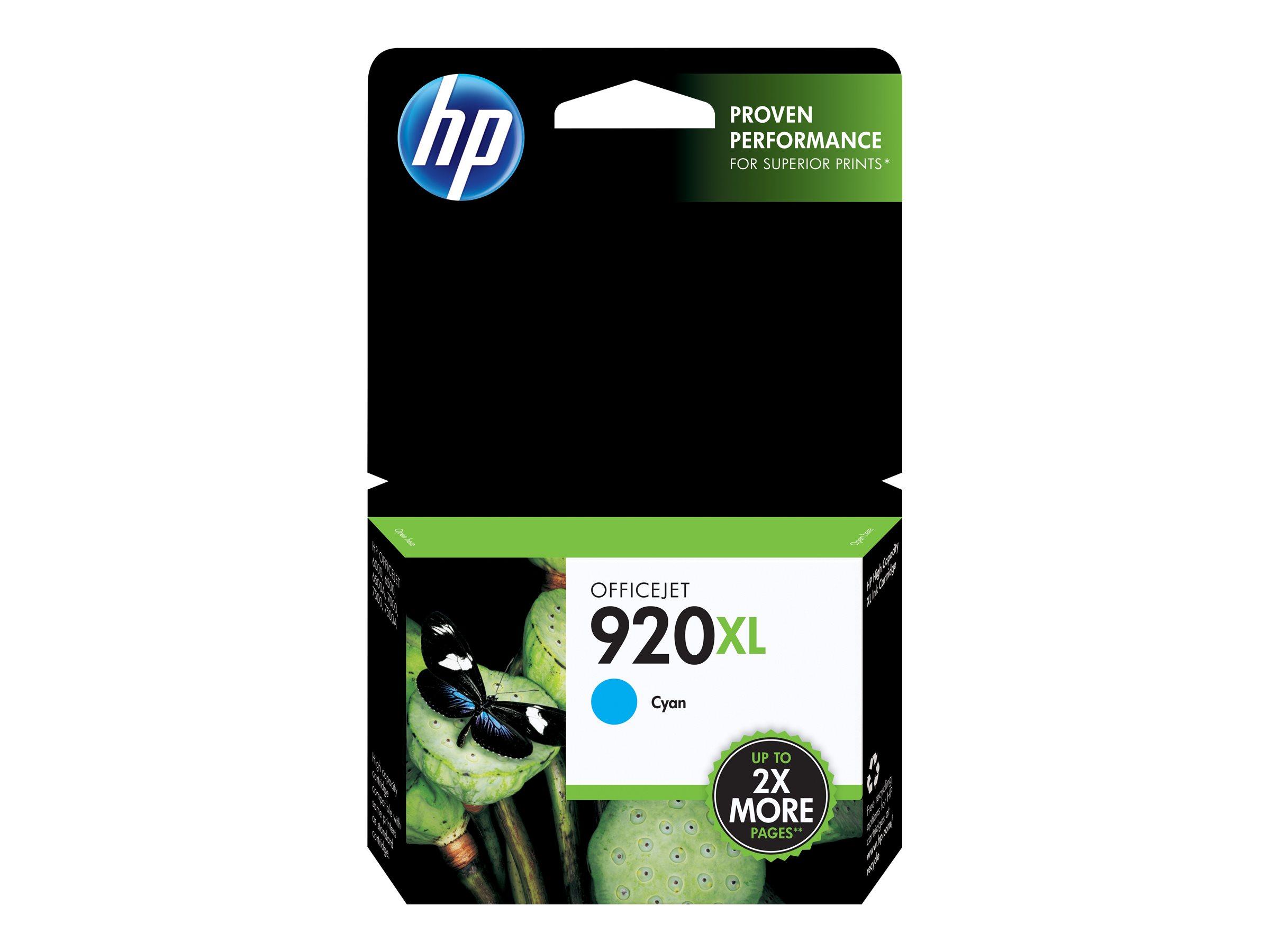HP 920XL - à rendement élevé - cyan - originale - cartouche d'encre