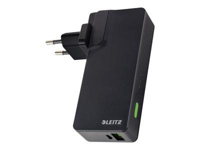 Leitz Complete USB Travel Wall Charger and Power Bank 3000 - Power banka/napájecí adaptér Li-pol 3000 mAh - 10.5 Watt - 2.1 A (USB (pouze napájení)) - černá - Austrálie, Nový Zéland, Velká Británie, S