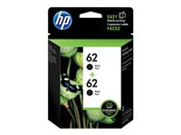 HP 62 - 2-pack - black - original - blister - ink cartridge - for Envy 55XX, 56XX, 76XX; Officejet 200, 202, 250, 57XX, 8040