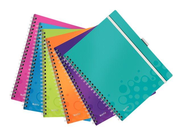 Leitz WOW Be Mobile - Cahier - A4 - 21 x 29,7 cm - 80 feuilles / 160 pages - assortiment de couleurs