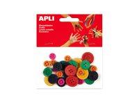 Apli - 30 Boutons artisanaux - bleu, jaune, rouge, vert, orange, rose - bois