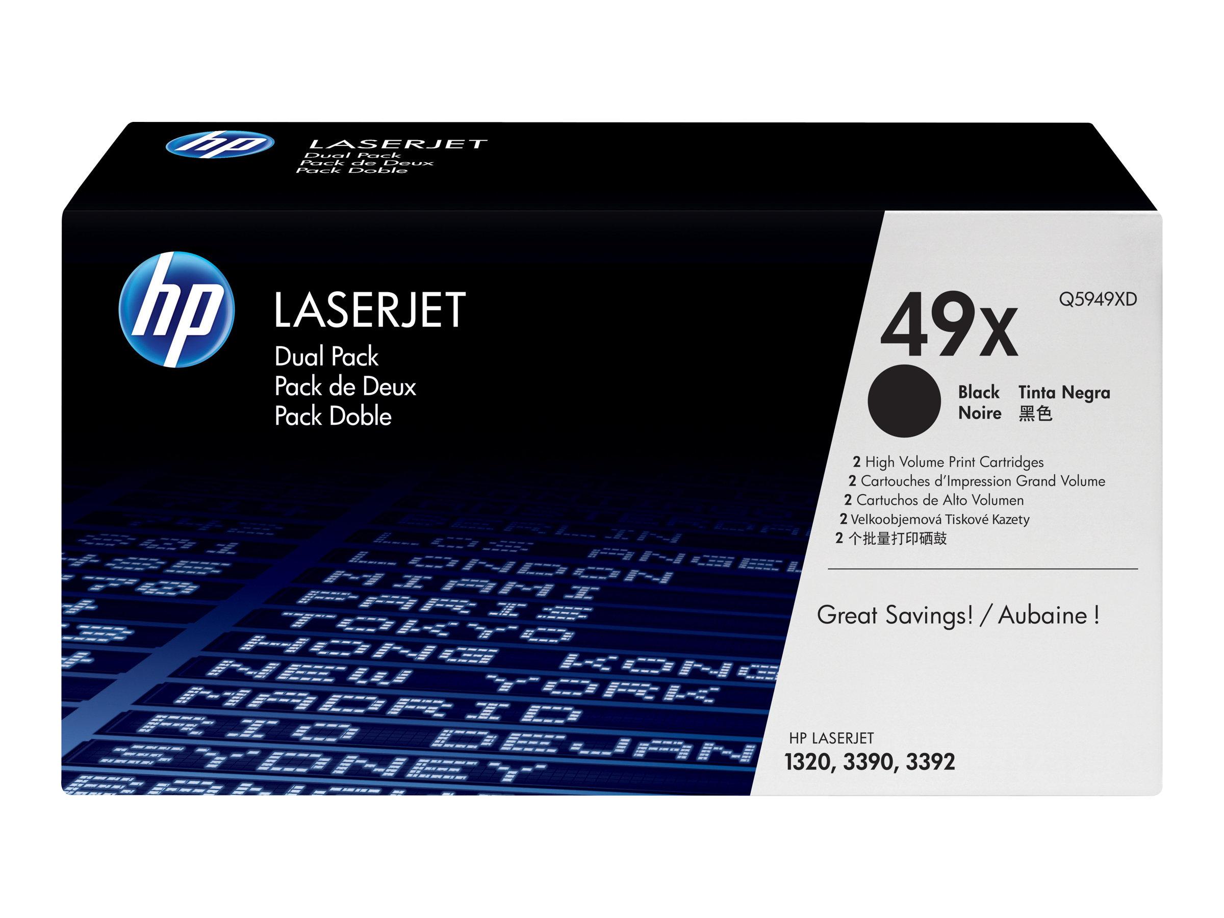 HP 49X - pack de 2 - à rendement élevé - noir - originale - LaserJet - cartouche de toner (Q5949XD)