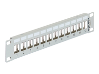"DeLOCK Keystone Patch Panel Patch-panel grå 1U 10"" 12 porte"