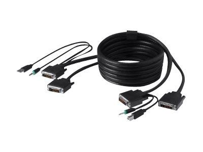 Belkin Secure KVM Cable Kit - Video / USB / audio cable kit - USB, mini-phone stereo 3.5 mm, DVI-D (M) to mini-phone stereo 3.5 mm, USB Type B, DVI-D (M) - 10 ft - B2B