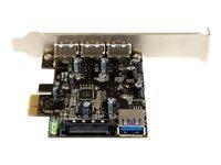 StarTech.com Carte contrôleur PCI Express à 4 ports USB 3.0 - 3 externes 1 interne - Adaptateur PCIe USB avec UASP - adaptateur USB