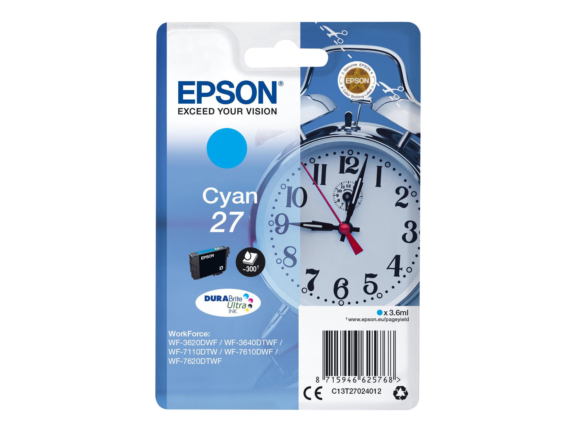 Epson T27 - réveil - cyan - originale - cartouche d'encre