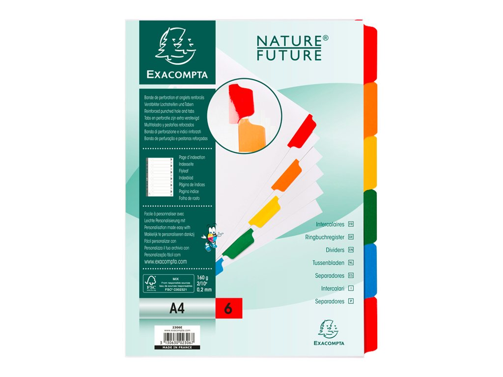 Exacompta Nature Future - Intercalaire - 6 positions - A4 - à onglets - blanc