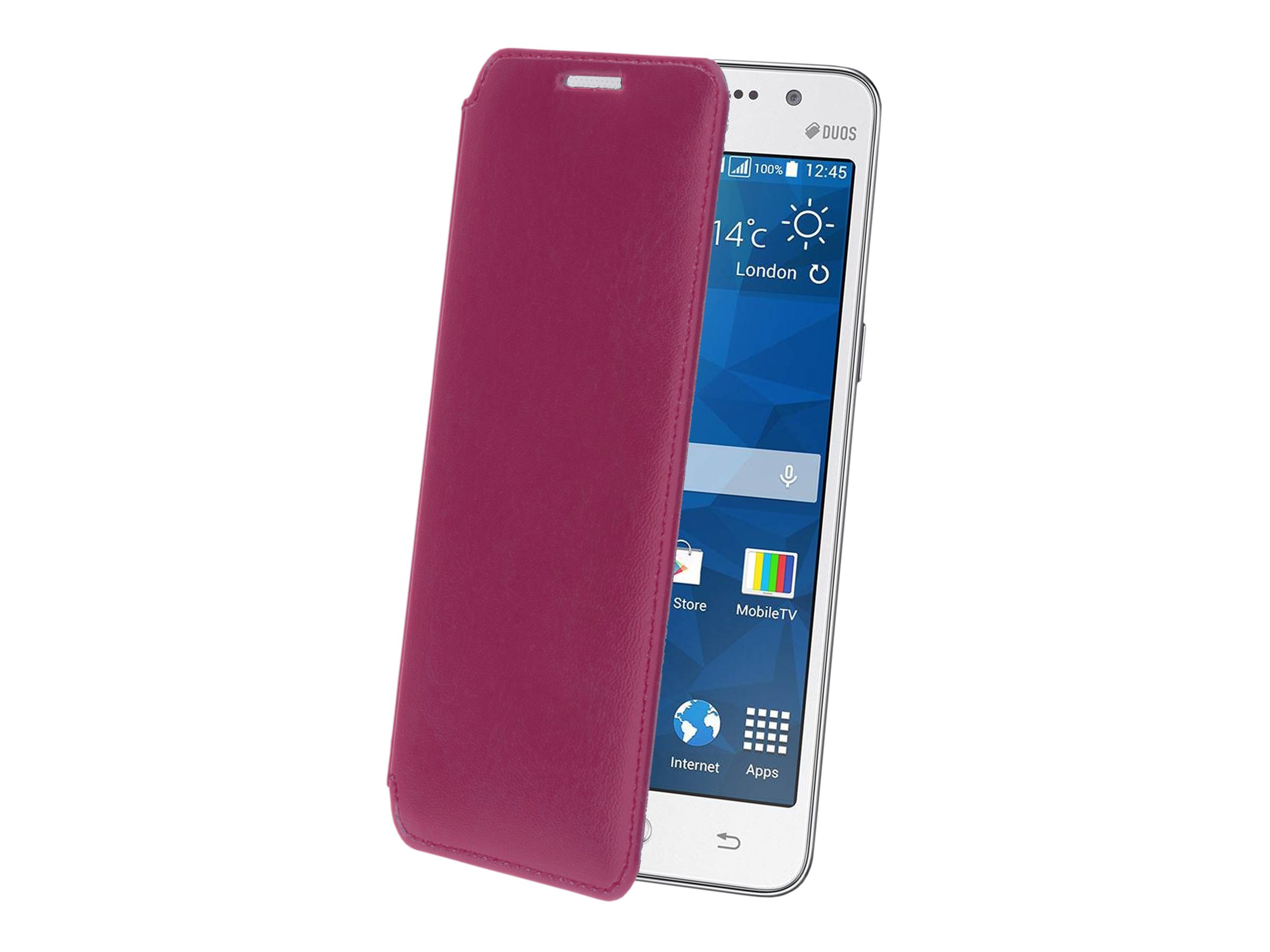 Muvit Made in Paris Crystal Folio - Protection à rabat pour Samsung GALAXY Grand Prime - luxe fuchsia
