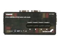 StarTech.com Juego de Conmutador Switch KVM 4 Puertos Vídeo VGA USB 2.0 con Cables y Audio - 5x HD15 Hembra - 2x USB A Hembra