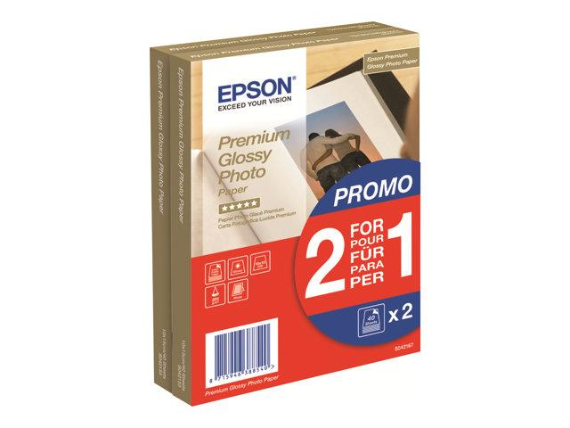 Epson Premium Glossy Photo Paper BOGOF - Papier photo - brillant - 100 x 150 mm - 255 g/m² - 40 feuille(s) (pack de 2) - pour Expression Home XP-245, 342, 442; Expression Premium XP-540; SureColor P800