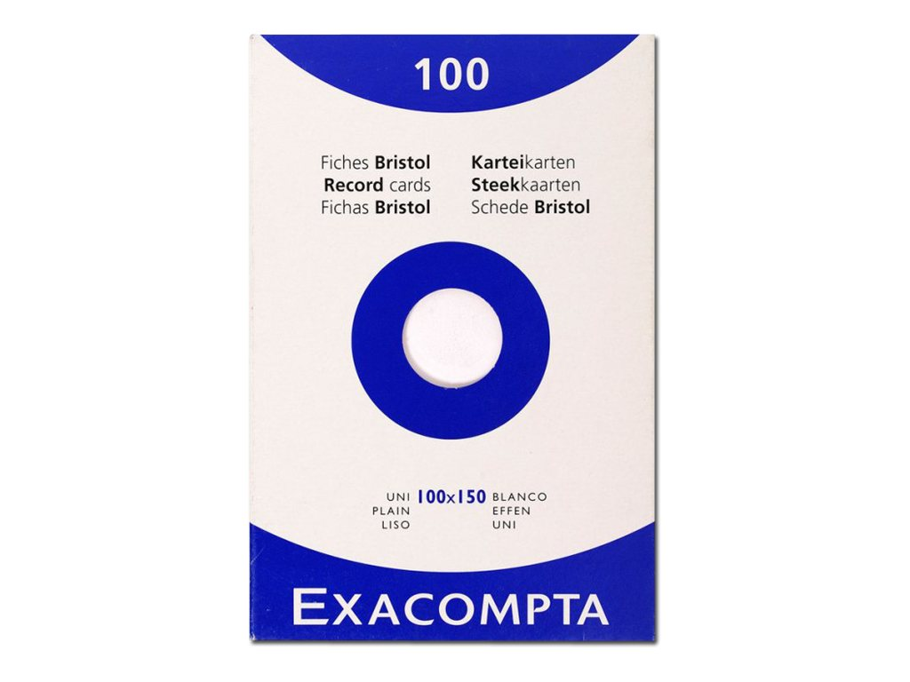 Exacompta - Fiches Bristol - 100 x 150 mm - Blanc - Uni
