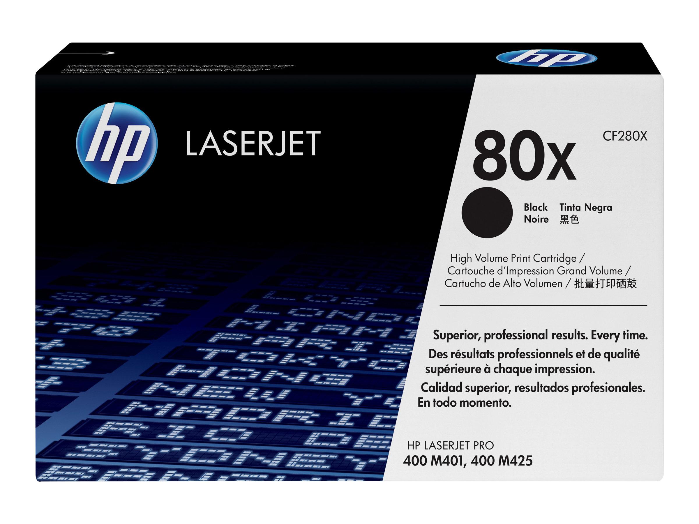 HP 80x - à rendement élevé - noir - originale - LaserJet - cartouche de toner (CF280X)
