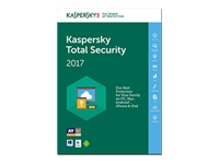 Kaspersky Total Security 2017 Bokspakke (1 år) 3 enheder
