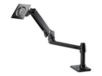 HP Single Monitor Arm - Mounting kit (desk clamp mount, grommet mount, single-screen mounting arm) for LCD display - jack black - screen size: up to 24