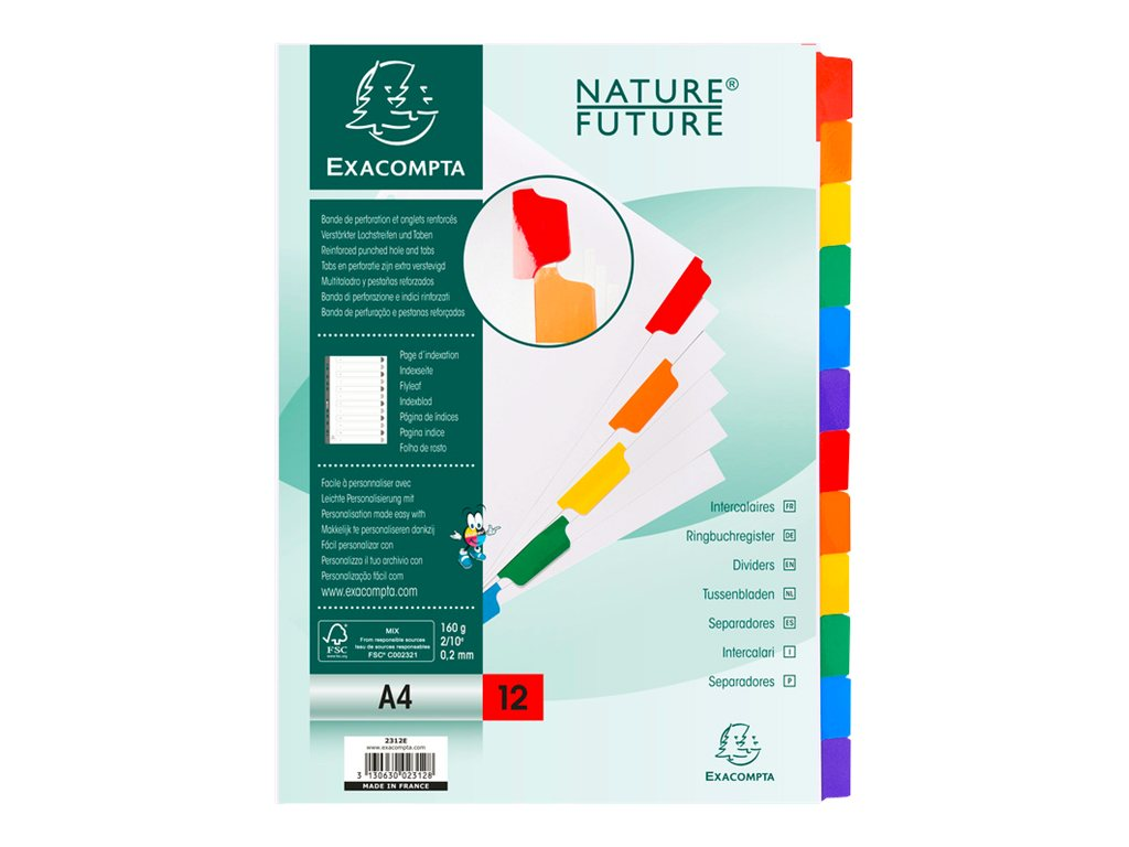 Exacompta Nature Future - Intercalaire - 12 positions - A4 - blanc