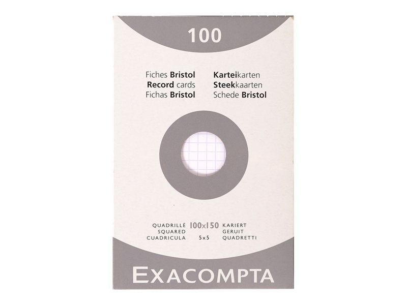 Exacompta - 100 Fiches bristol - 10 x 15 cm - blanc - petits carreaux