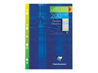 Clairefontaine - 200 Feuillets mobiles - A4 - jaune. bleu. vert. rose - quadrillé - perforé