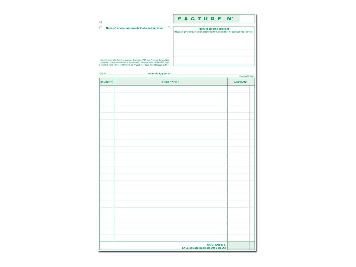 Exacompta - Livre de factures commerciales - 50 feuilles - A4 - en dou+C3163:C3185