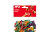 Apli Agipa - 45 Pinces - 25 x 3 mm - bois - couleurs assorties