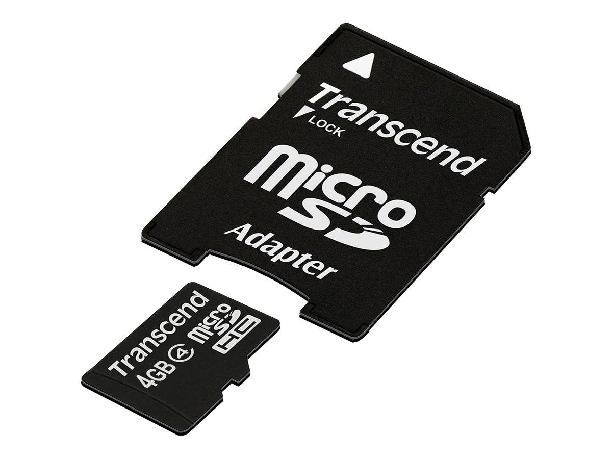 Transcend - Carte mémoire MicroSD (adaptateur microSDHC - SD inclus(e)) - 4 Go - Class 4
