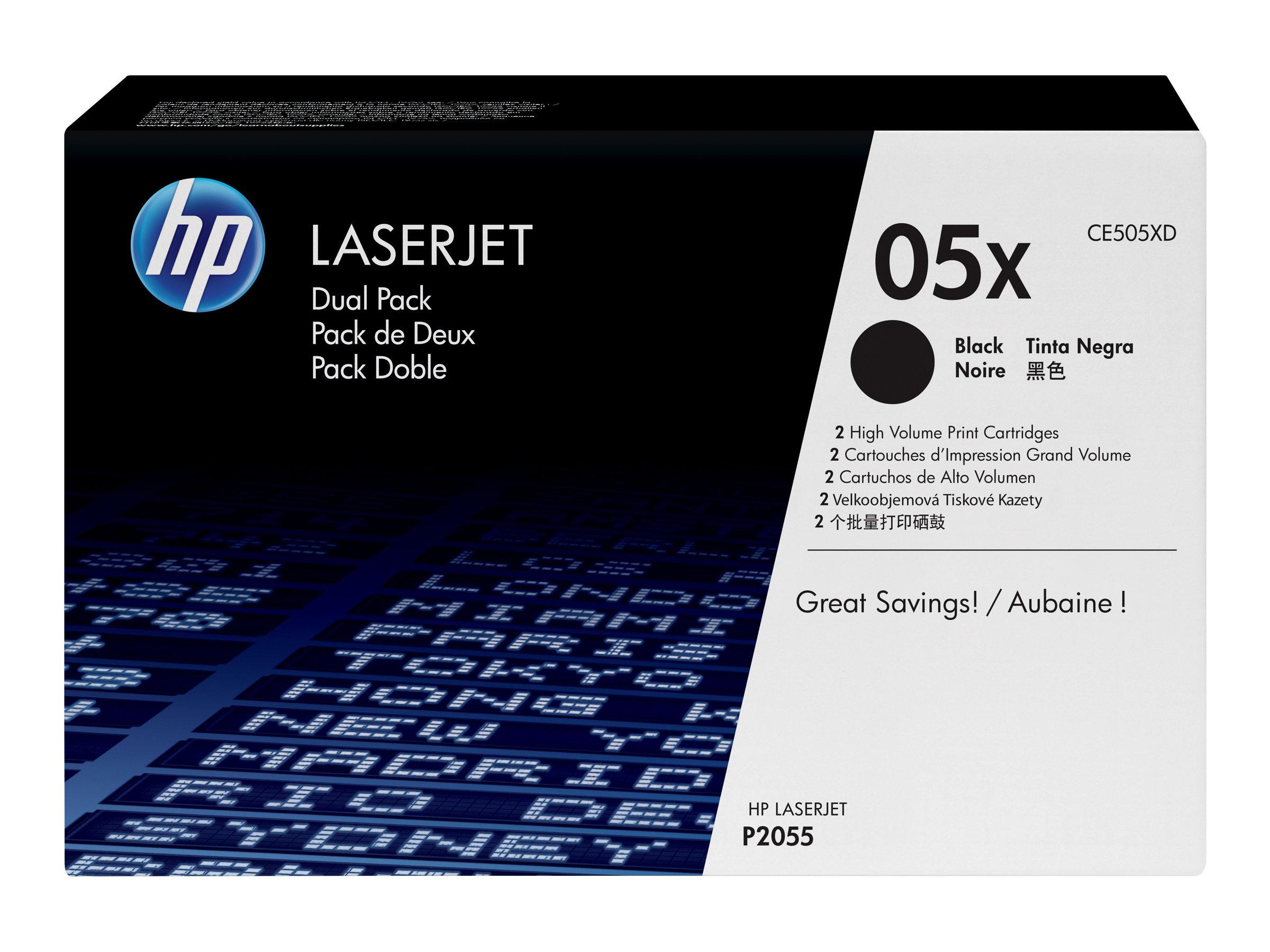 HP 05X - pack de 2 - à rendement élevé - noir - originale - LaserJet - cartouche de toner (CE505XD)