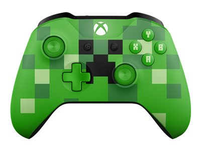 Microsoft Xbox Wireless Controller - Minecraft Creeper - gamepad - wireless - Bluetooth - green - for PC, Microsoft Xbox One, Microsoft Xbox One S, Microsoft Xbox One X