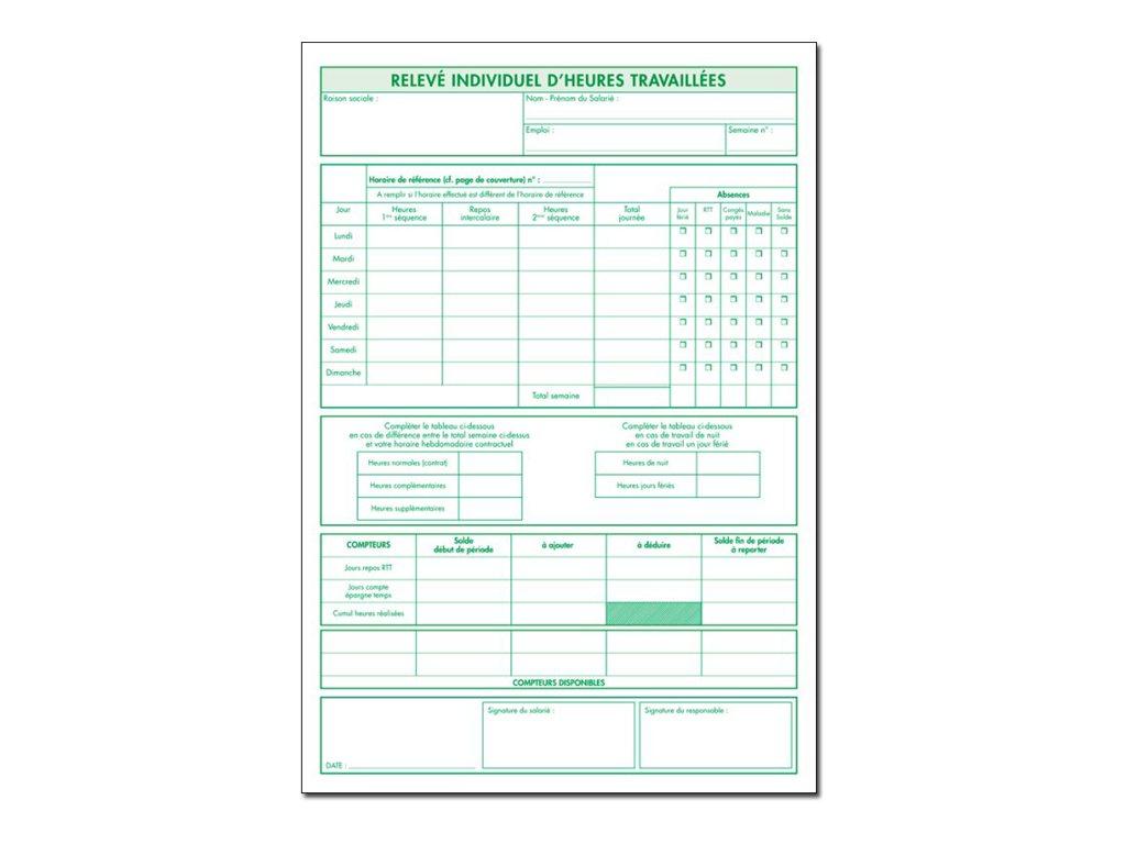 Exacompta - registre individuel d'heures travaillées