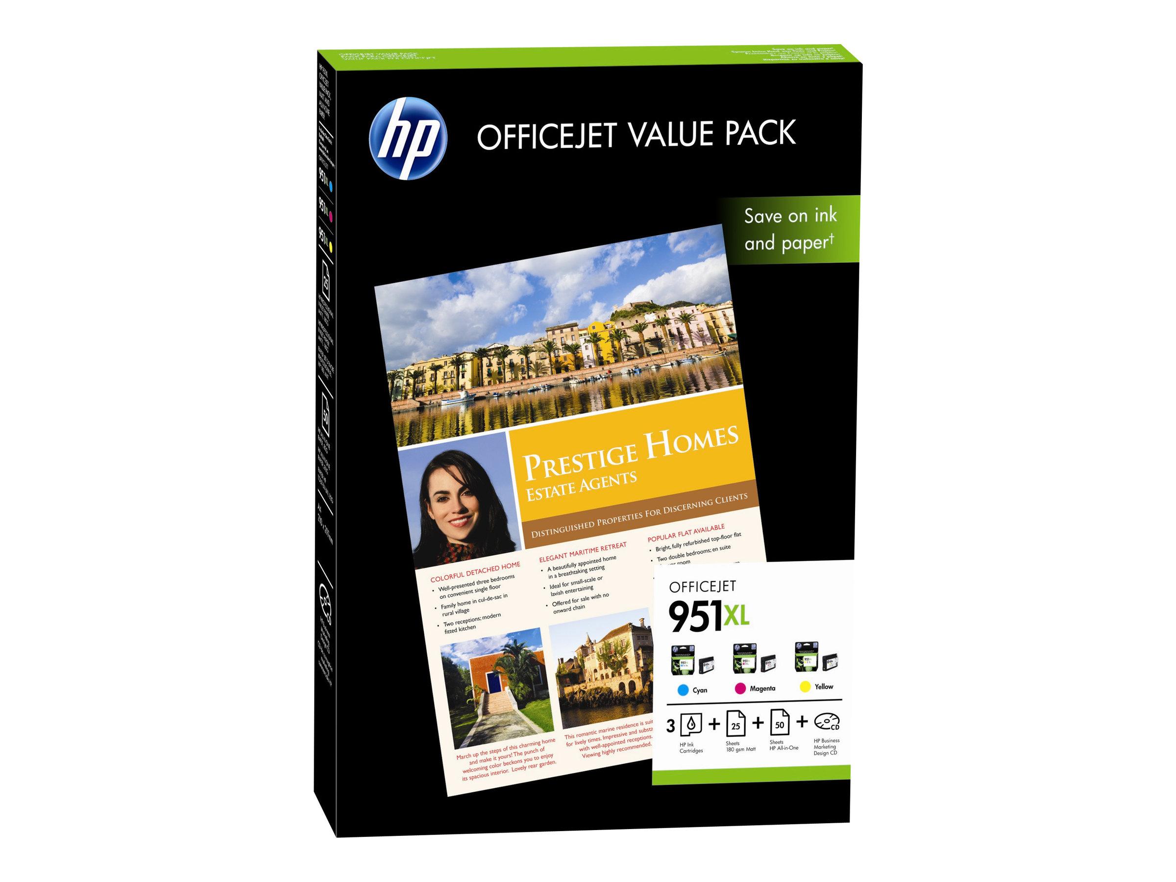 hp 951xl officejet value pack 1 jaune cyan magenta cartouche imprimante kit papier. Black Bedroom Furniture Sets. Home Design Ideas