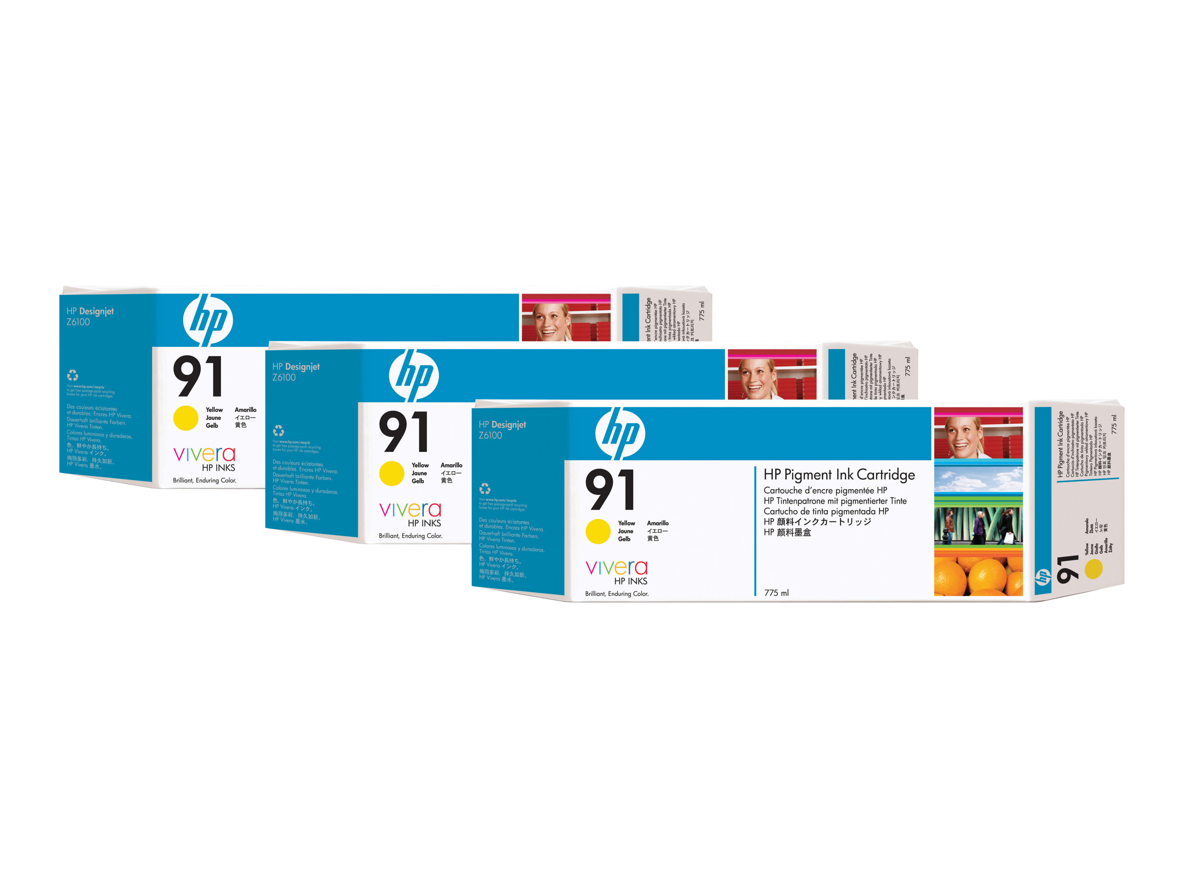 HP 91 3-ink Multipack - pack de 3 - jaune - originale - cartouche d'encre
