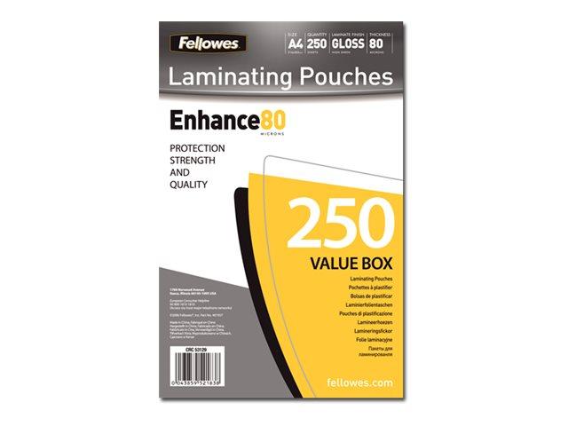 Fellowes Laminating Pouches - pack de 250 - brillant - pochettes plastifiées