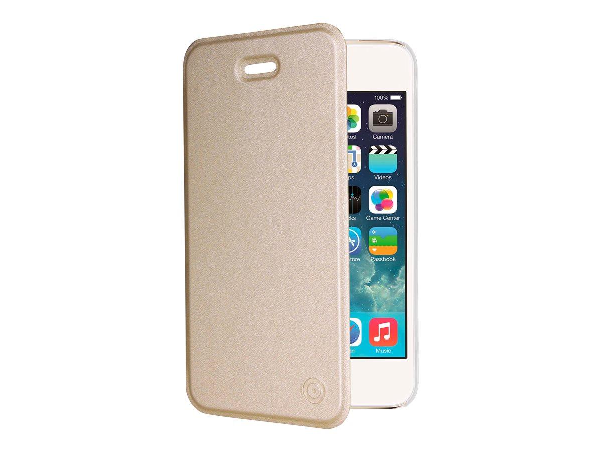 Muvit Folio - Protection à rabat pour iPhone 5, 5s, SE - translucide, or