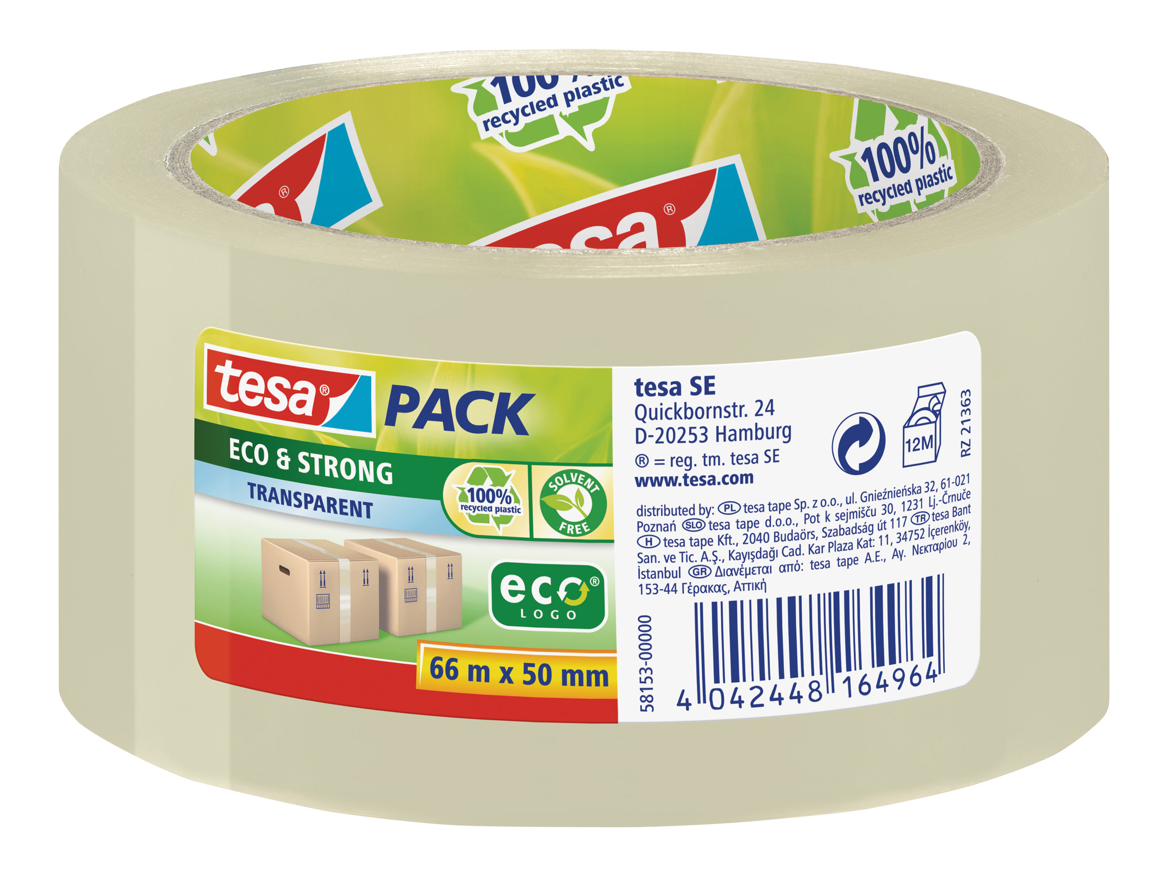 Tesapack Eco & Strong - Bande d'emballage - 50 mm x 66 m - transparent