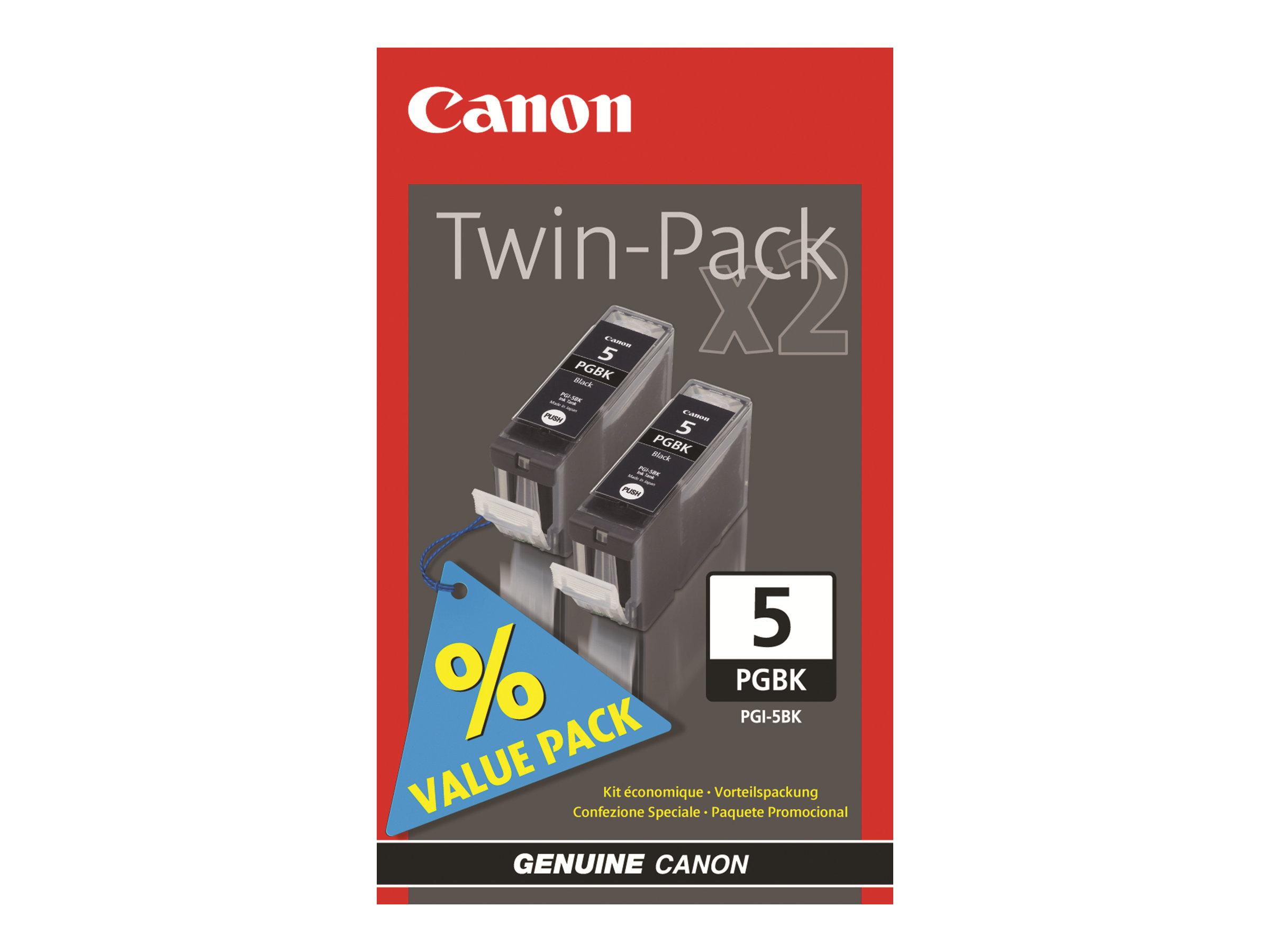 Canon PGI-5 Black Twin Pack - pack de 2 - noir - originale - réservoir d'encre