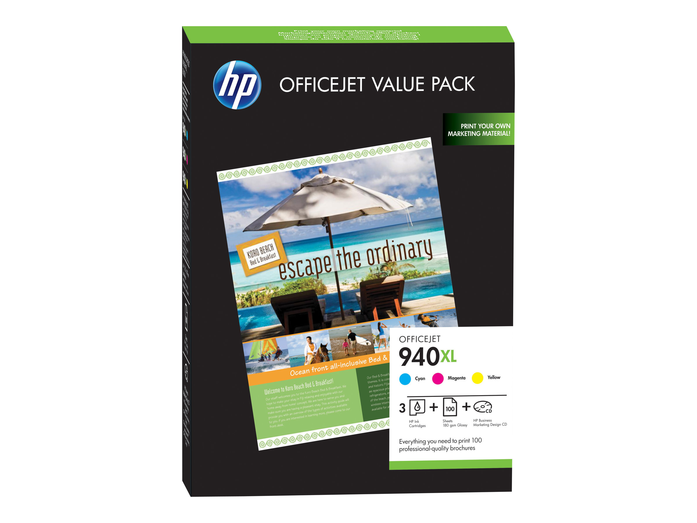 HP 940XL Officejet Brochure Value Pack - pack de 3 - jaune, cyan, magenta - cartouche d'encre