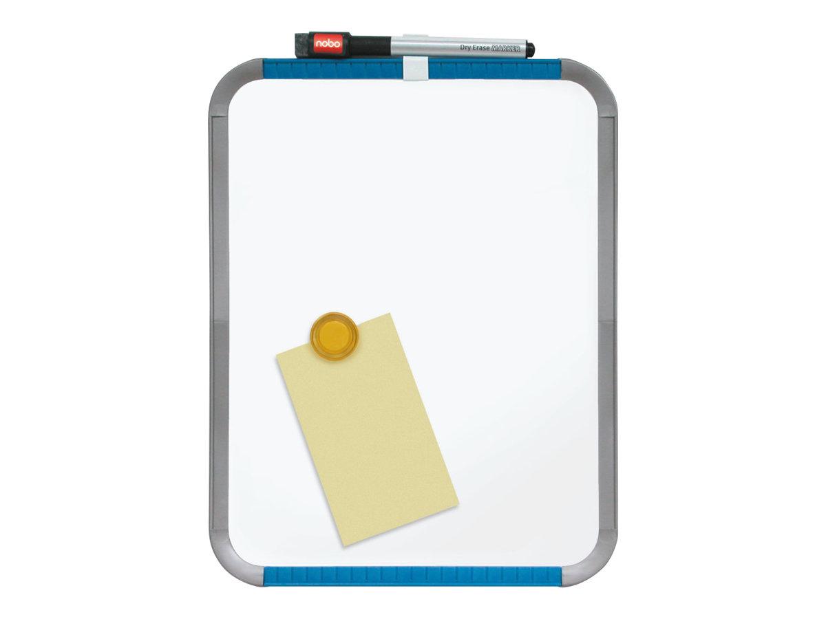 Nobo Slimline - Tableau blanc - 220 x 280 mm - magnétique - blanc brillant - cadre bleu/argent