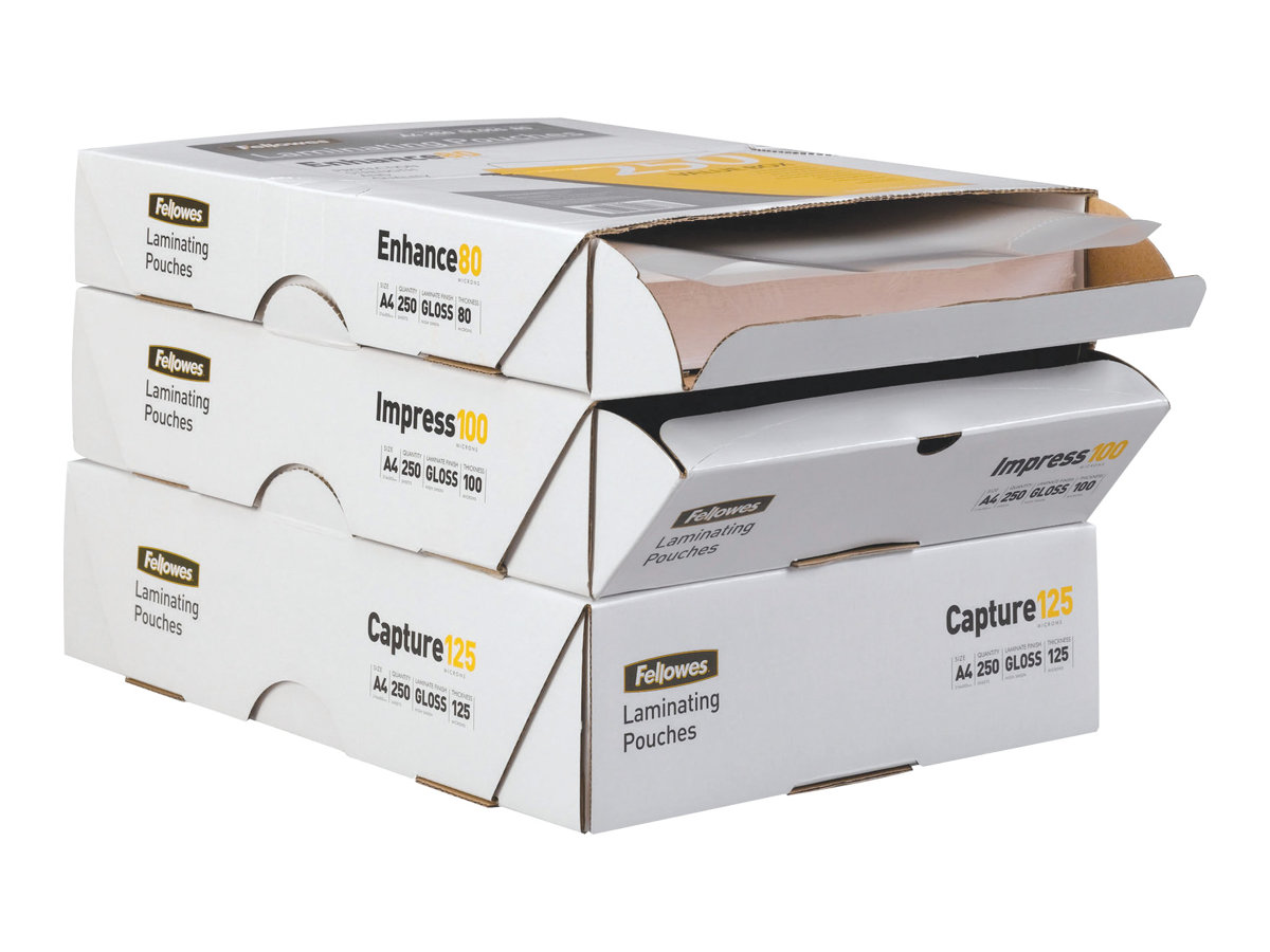 Fellowes - 100 pochettes plastifiées - brillant - A4 (21 x 29,7 cm) - 80 microns