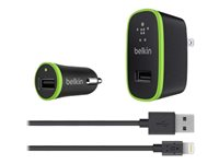 Belkin Charger Kit - Power adapter kit - (AC power adapter, car power adapter, Lightning cable)